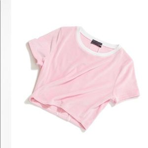 🆕  URBAN OUTFITTERS KALEO PINK VELOUR CROP TOP